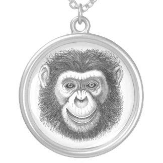 Colar Banhado A Prata Chimpanzé