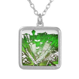 Colar Banhado A Prata city em 3 point version perspective special green