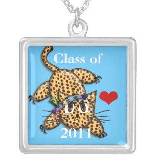 Colar Banhado A Prata Classe de seu leopardo bonito do ano da graduação
