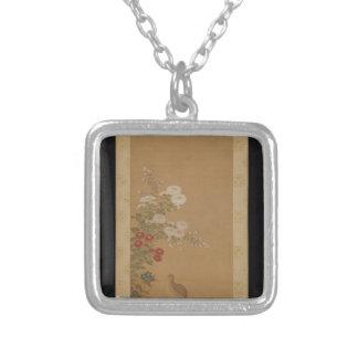 Colar Banhado A Prata Codorniz sob flores do outono - Japão (período de