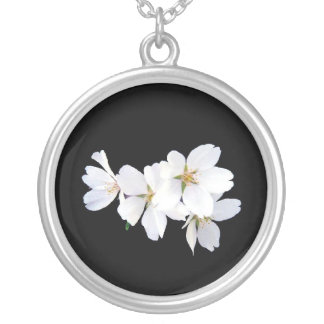 Colar Banhado A Prata Conjunto 01 da flor de cerejeira