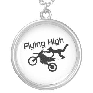 Colar Banhado A Prata Conluio alto de voo da bicicleta da sujeira