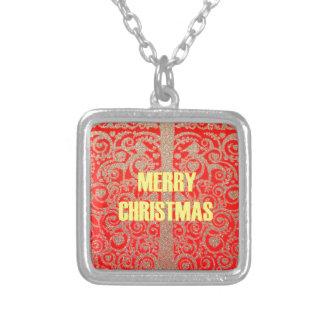 Colar Banhado A Prata Corações vermelhos dourados da neve do Feliz Natal