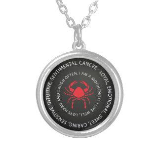 Colar Banhado A Prata Descrição do zodíaco do cancer - surpresa legal da