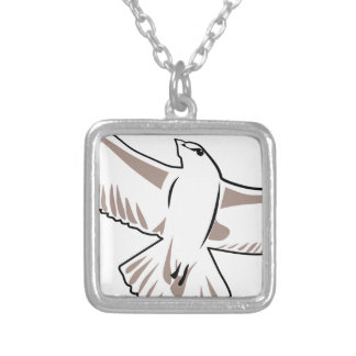 Colar Banhado A Prata Desenho da gaivota