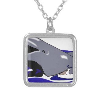Colar Banhado A Prata Desenho do golfinho