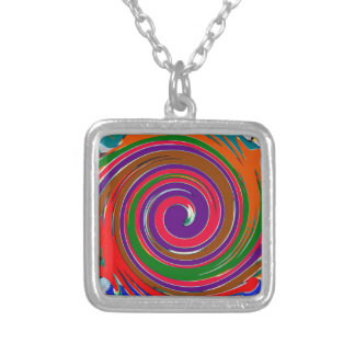 Colar Banhado A Prata Design colorido alegre do twirl do vento do giro