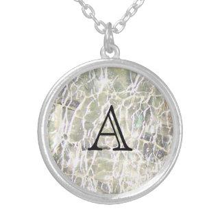 Colar Banhado A Prata Design de vidro Crackled de Birthstone - diamante