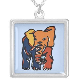 """Colar Banhado A Prata Do """"colar colorida da prata esterlina elefante"""""""