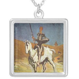 """Colar Banhado A Prata """"Don Quixote e Sancho Panza"""