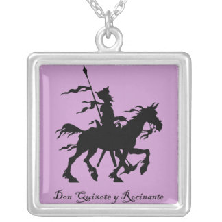 Colar Banhado A Prata Don Quixote y Rocinante