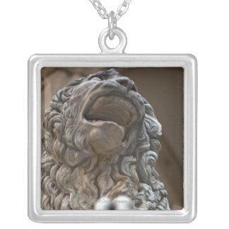 Colar Banhado A Prata estátua Florença Italia do leão
