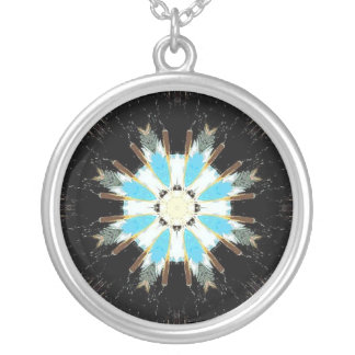 Colar Banhado A Prata estrela-explosão azul da pena