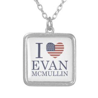 Colar Banhado A Prata Eu amo Evan McMullin