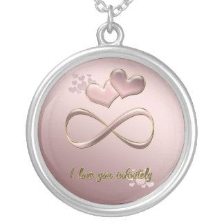 Colar Banhado A Prata Eu te amo infinita corações cor-de-rosa do dia dos