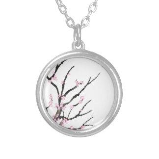 Colar Banhado A Prata Flor de cerejeira cor-de-rosa 27, Tony Fernandes
