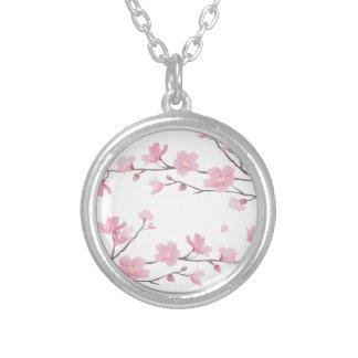 Colar Banhado A Prata Flor de cerejeira - Transparente-Fundo