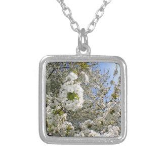 Colar Banhado A Prata Flores de cerejeira, primavera
