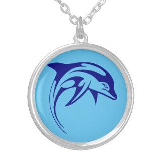 Colar Banhado A Prata Golfinho azul