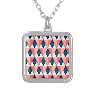 Colar Banhado A Prata Impressão geométrico do triângulo