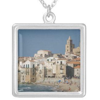 Colar Banhado A Prata Italia, Sicília, Cefalu, opinião da cidade com o