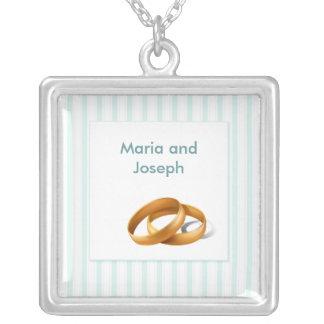 Colar Banhado A Prata Listras azuis - alianças de casamento
