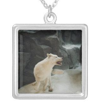 Colar Banhado A Prata Lobo branco