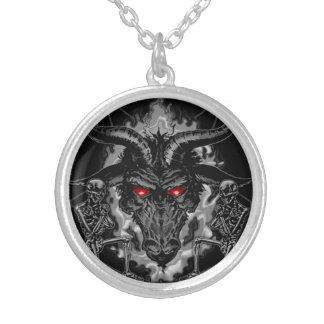 Colar Banhado A Prata Metal do preto do Pentagram de Baphomet