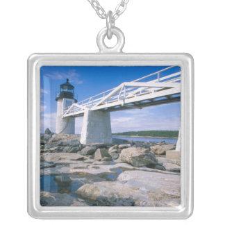 Colar Banhado A Prata NA, EUA, Maine, porto Clyde.  Ponto de Marshall
