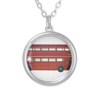 Colar Banhado A Prata Ônibus do vermelho do autocarro de dois andares