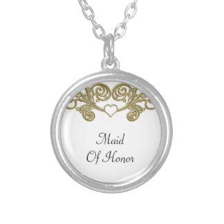 Colar Banhado A Prata Ouro & casamento de junta floral branco do coração