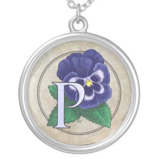 Colar Banhado A Prata P para o monograma da flor do amor perfeito