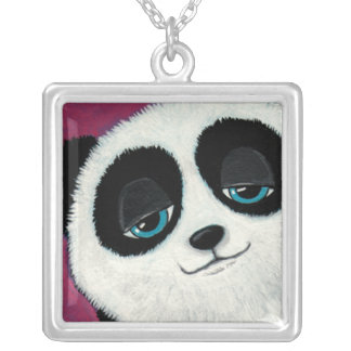 Colar Banhado A Prata Panda Eyed azul no pendente da arte do rosa |