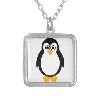 Colar Banhado A Prata Partido do pinguim