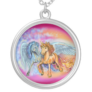 Colar Banhado A Prata Pegasus~necklace do unicórnio do vento e da chama