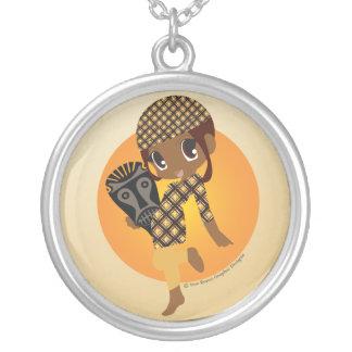 Colar Banhado A Prata Pendente de Chibi do africano de Kawaii