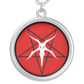 Colar Banhado A Prata Pentagram simplificado de Baphomet