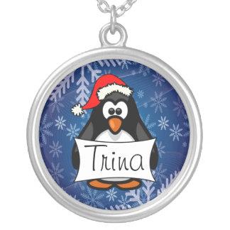 Colar Banhado A Prata Pinguim do Natal