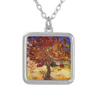 Colar Banhado A Prata Pintura das belas artes da árvore de Mulberry de