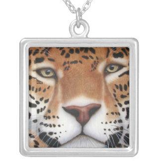 Colar Banhado A Prata Pintura de Jaguar