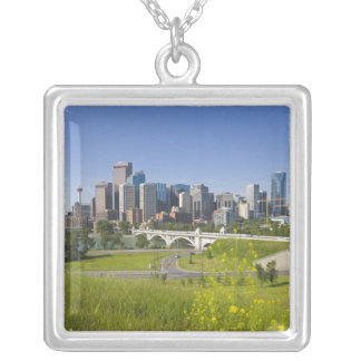 Colar Banhado A Prata Ponte da rua do centro e Calgary do centro,