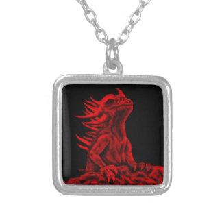 Colar Banhado A Prata Pouco dragão vermelho