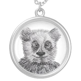Colar Banhado A Prata Prata do urso de panda grande chapeada em volta da