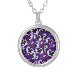 Colar Banhado A Prata Purple_Pansies_Bouquet, _