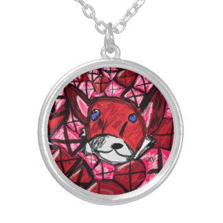 Colar Banhado A Prata raposa e rubys