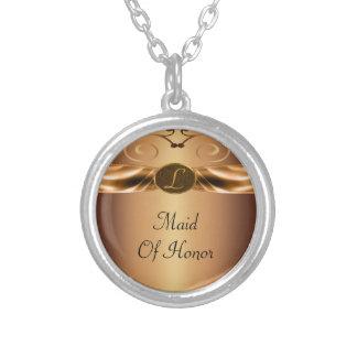 Colar Banhado A Prata Rolos metálicos de cobre & casamento do monograma