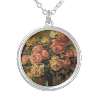 Colar Banhado A Prata Rosas em um vaso por Pierre Renoir, belas artes do
