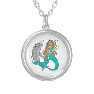 Colar Banhado A Prata Sereia com golfinho
