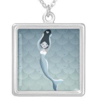 Colar Banhado A Prata Sereia do azul de Suomu