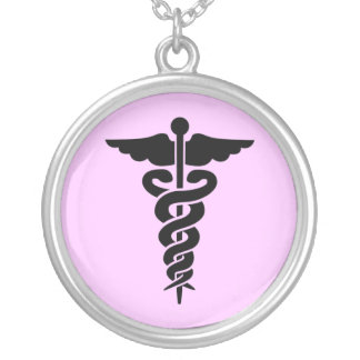 Colar Banhado A Prata Símbolo médico